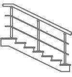 Лестничное ограждение через 2 ступени - 2 ригеля