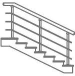 Лестничное ограждение через 2 ступени - 3 ригеля