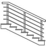 Лестничное ограждение через 2 ступени - 4 ригеля